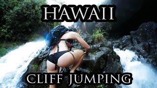 Cliff Jumping Off Secret Waterfalls | Hawaii in 4K