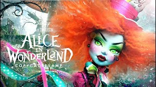 Doll Figurine MAD HATTER Alice In Wonderland Tim Burton Monster High Doll Repaint Custom Ooak