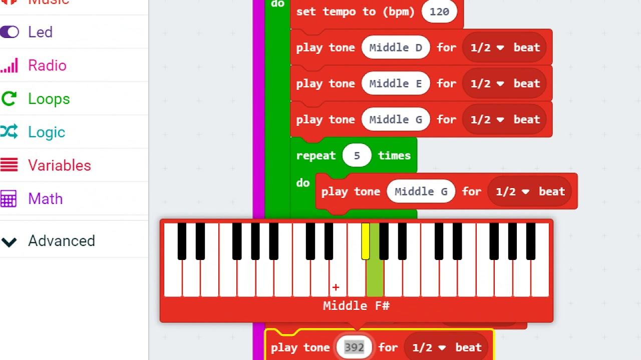 การทำเพลง baby shark โดยใช้คำสั่ง music ในโปรแกรม makecode microbit