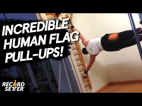Most Behind The Back Human Flag Pull Ups