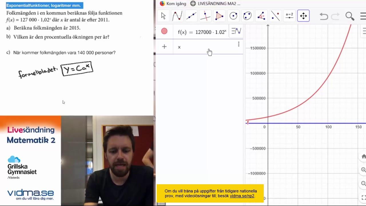 LIVESÄNDNING MATEMATIK 2: Repris: Del 2 av 2: Exponentialfunktioner statistik, geometri, A-uppgifter
