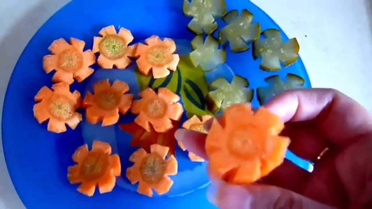 Украшения из овощей. Цветы из моркови и огурцов. Как ...