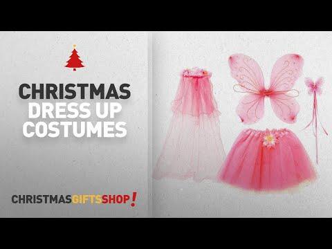 Top Christmas Dress Up Costumes Ideas: fedio 4Pcs Girls Princess Fairy Costume Set with Wings, Tutu,