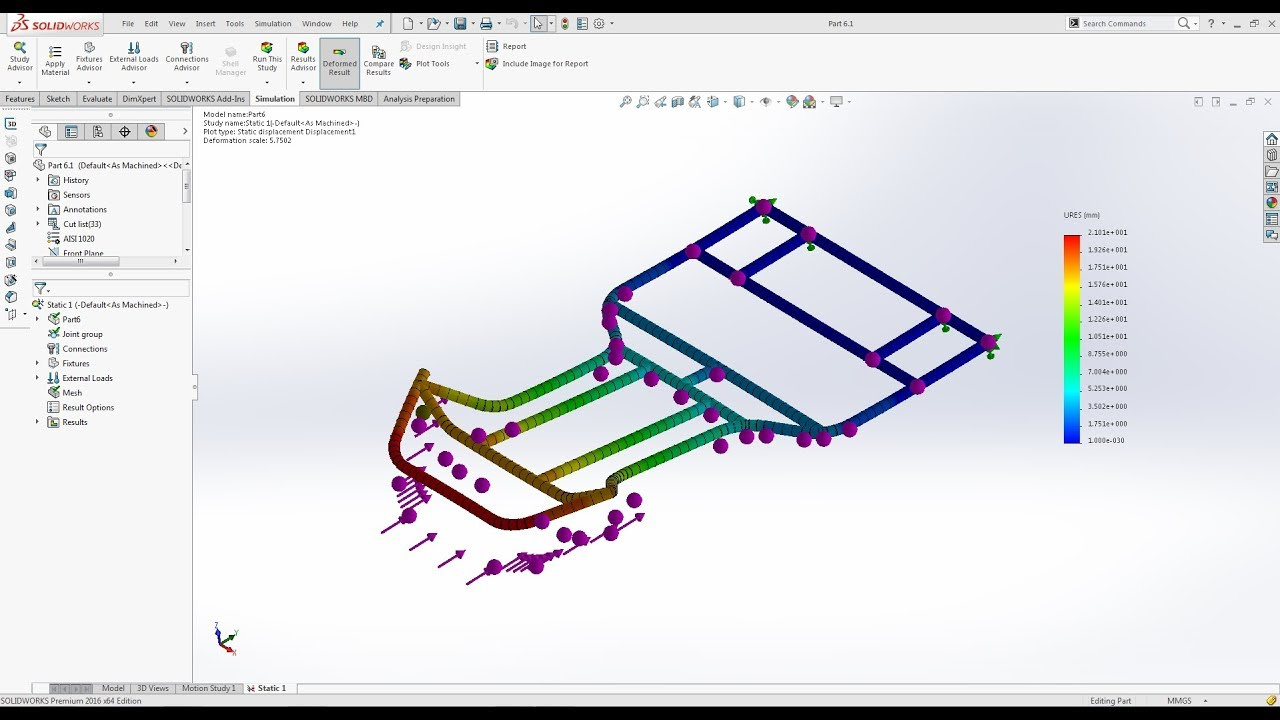How to do analysis for gokart frame in solidworks - YouTube
