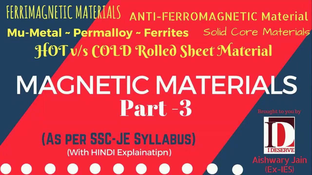 Anti-fero & Ferri magnetic material   Ferrites   Mu-Metal   Permalloy    HINDI Explaination   SSC-JE