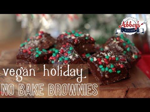 Vegan HOLIDAY No-Bake Candy Cane Brownies | Gluten Free & Dairy Free Dessert
