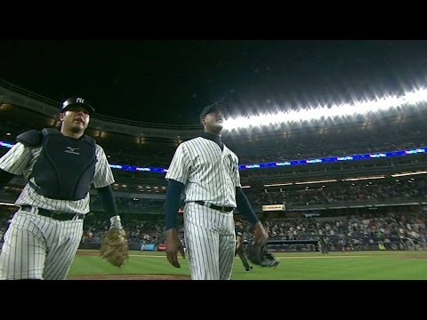 BOS@NYY: Chapman induces double play to seal the win