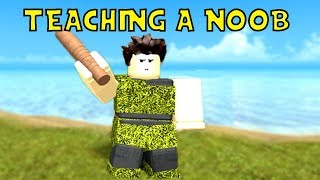 TEACHING A NOOB HOW TO PVP | Roblox