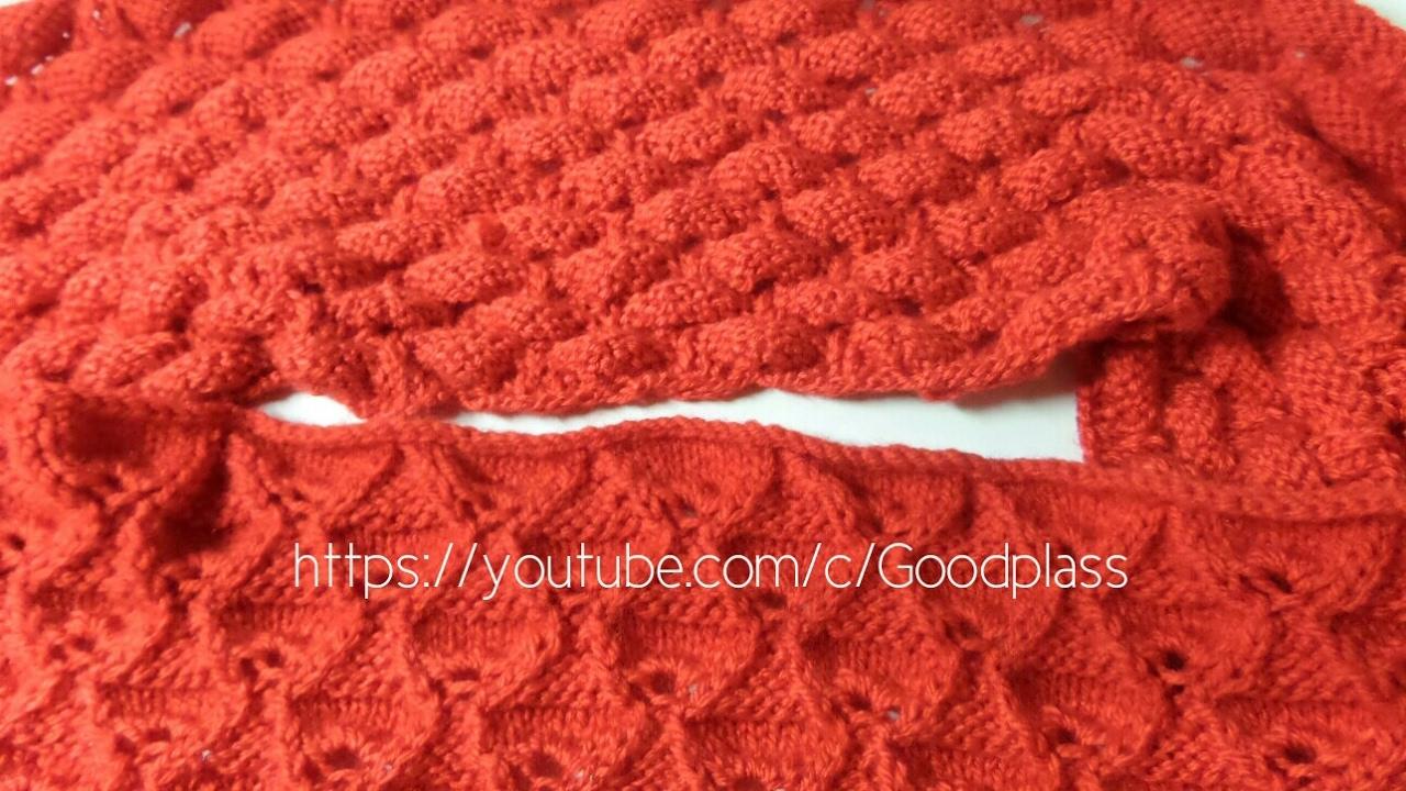 двухсторонний ажурный шарф снудхомут вязание спицами по кругу