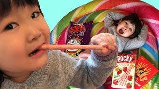 寸劇ごっこ遊び!不思議な植木で巨大なお菓子が大量!?おゆうぎ Giant Snack in Mysterious ball