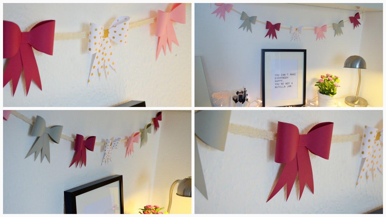 Diy papierschleifen girlande diy paper bow garland diy for Room decor using paper