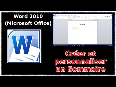 Tuto Word 2010 - Créer et personnaliser un sommaire