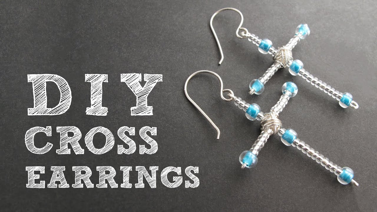 DIY Beaded Cross Earrings - Christmas Earrings Tutorial - YouTube