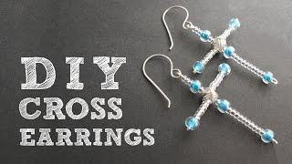 DIY Beaded Cross Earrings - Christmas Earrings Tutorial