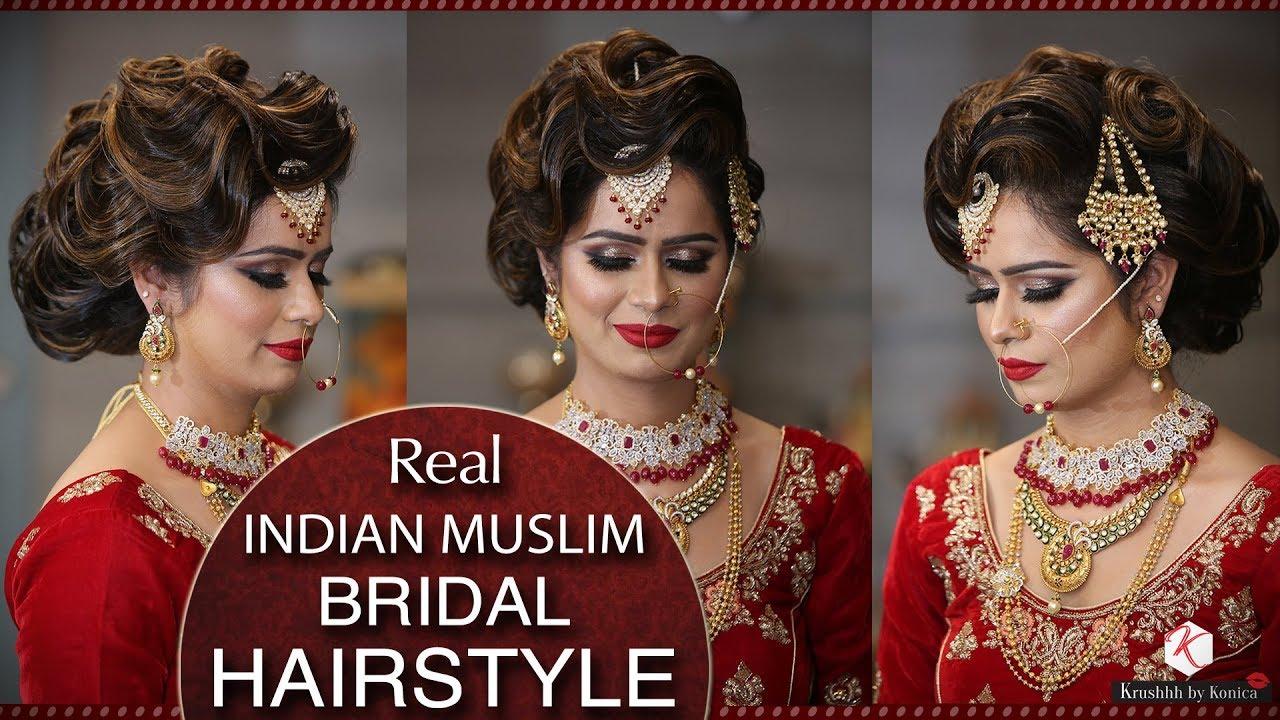 muslim bridal hairstyle tutorial | easy hair bun tutorial for muslim bride | krushhh by konica