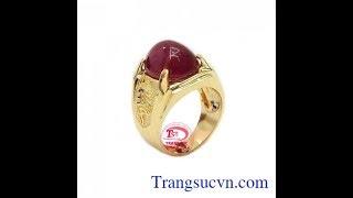 Nhẫn nam ruby đẳng cấp, nhẫn nam gắn đá quý, nhẫn vàng đẹp, TSVN020032