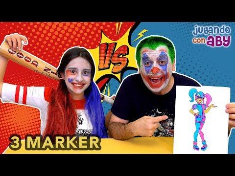 3 MARKER CHALLENGE. Coloreando Harley Quinn con rotuladores brillantes. Maquillaje de Carnaval.