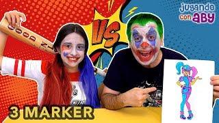 Скачать 3 MARKER CHALLENGE Coloreando Harley Quinn Con Rotuladores Brillantes Maquillaje De Carnaval