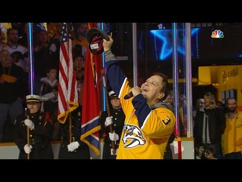 Chris Davis - Gavin DeGraw sings National Anthem... Face Plants On Ice!
