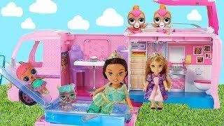Barbie Camper with Pool Water Slide RV Disney Princesses & LOL Surprise