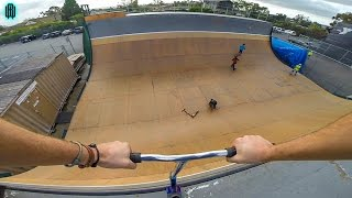 GIANT HALF PIPE TRICKS ON SCOOTER!!
