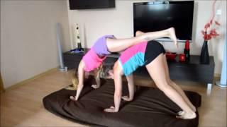 Two Cute Girls Funny Yoga Challenge