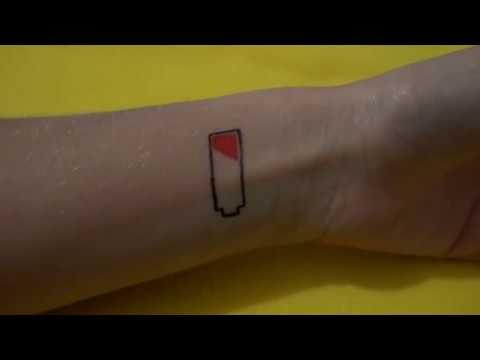 Временное Тату Гелевой ручкой Заряд батареи#50 / Temporary Tattoo Gel pen battery
