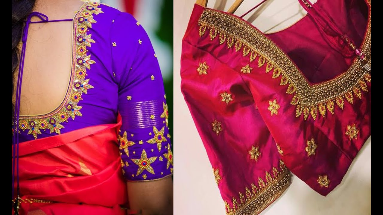 452656ad1c4b3 Beautiful Embroidery Work Blouse Designs For Silk Saree