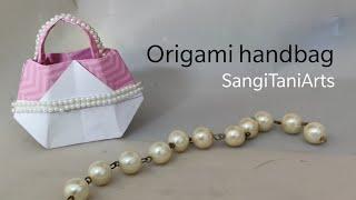 How to make easy paper handbag |#Origami handbag tutorial step by step (no glue) | #diy wrapping bag