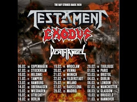 "TESTAMENT, EXODUS and DEATH ANGEL European tour ""The Bay Strikes Back 2020"""
