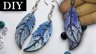 DIY EASY | Blue Feather Earrings - Polymer Clay Tutorial