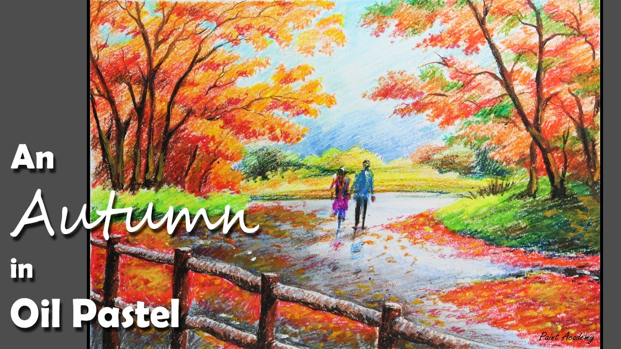 how to paint an autumn scene in oil pastel step by step youtube