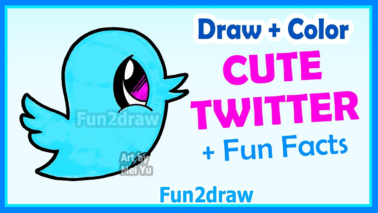 How to Draw Cute Cartoons - Twitter Bird - Easy Step by Step + Color ...
