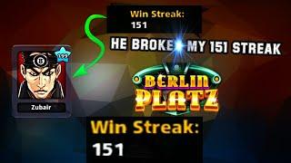 Playing Berlin With 151 streak - Opponent Broke my streak / 8 ball pool