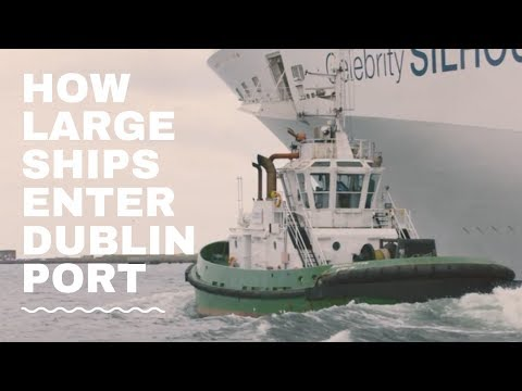 Tug Boats in Action - How Large Ships enter Dublin Port!