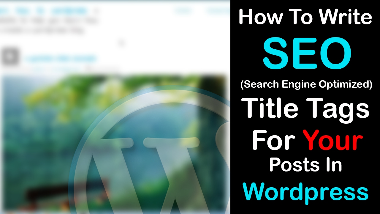 How to write a title tags