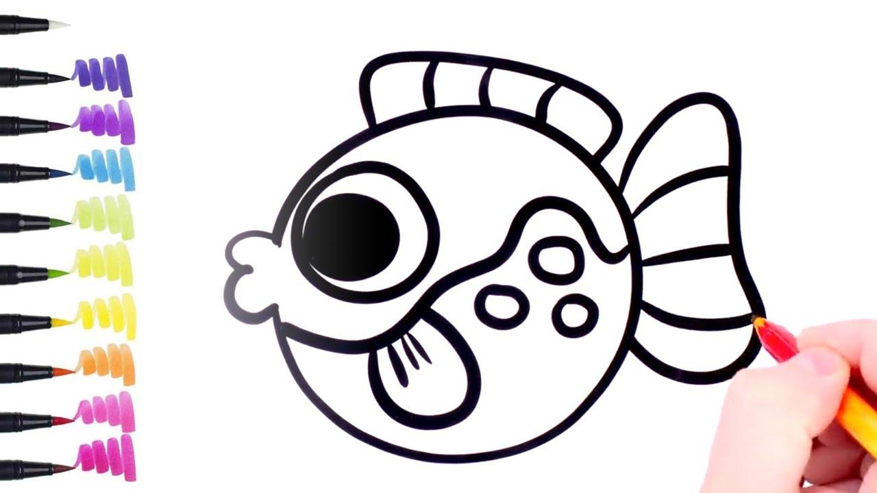 Gambar Ikan Kartun Yang Mudah Digambar Youtube