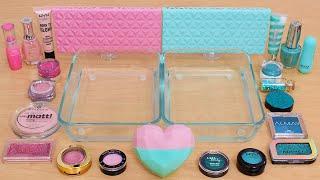 Pink vs Teal - Mixing Makeup Eyeshadow Into Slime ASMR 367 Satisfying Slime Video