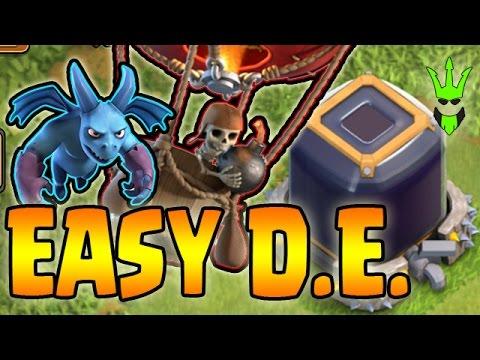 EASIEST TH9 DE FARMING!! - 1 Hour DE Farming - Clash of Clans - TH9 Hero Farming for King Upgrade!