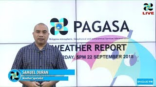 Public Weather Forecast Issued at 4:00 PM September 22, 2018