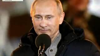 Путин плачет во время выступления на Манежной площади.