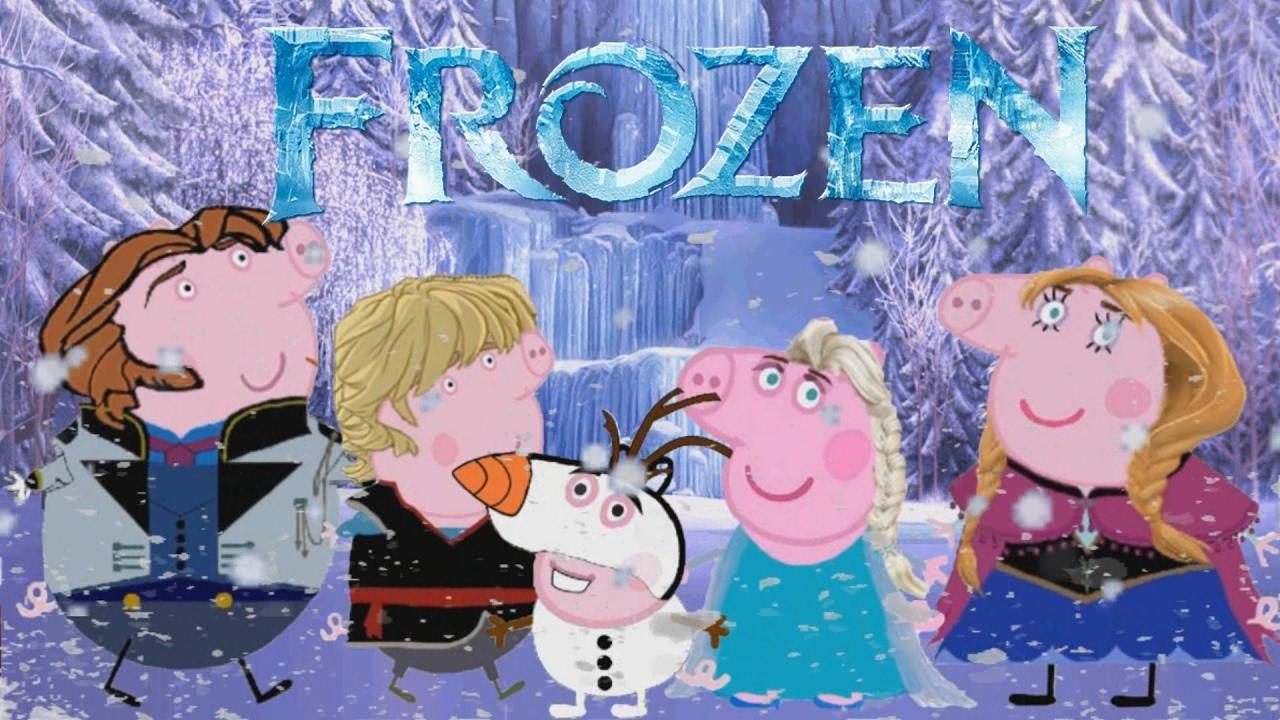 Раскраска Свинка Пеппа с семьей и семья Эльзы Фрозен Peppa ...