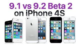 iPhone 4S iOS 9.1 vs iOS 9.2 Beta 2 / Public Beta 2 (Build # 13C5060d)