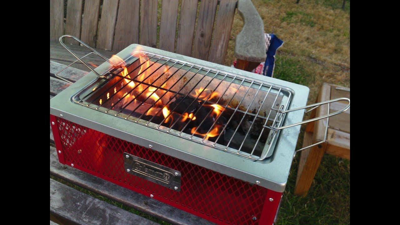 Coleman TABLETOP Charcoal Grill In Action