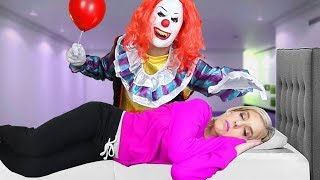 Creepy IT CLOWN Prank on Wife while She is Sleeping!  **BAD IDEA** | Matt and Rebecca