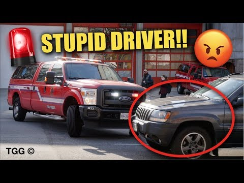 Don't Be This Guy!! - Dumb Drivers Block Fire Trucks - GIVE WAY!