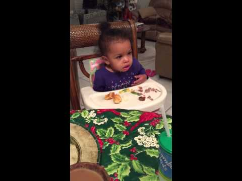 Best Reaction! 1 year old getting woke up in high-chair.