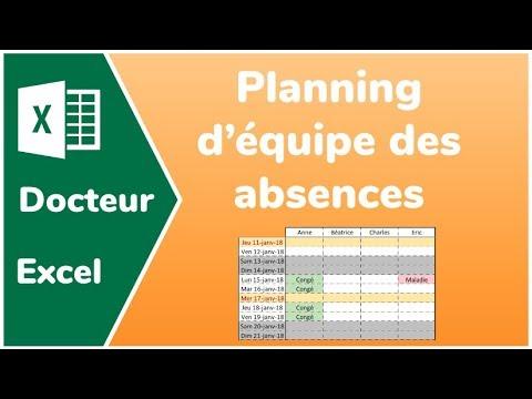 Modele De Planning D Une Equipe Avec Resume Des Absences Docteur Excel Youtube