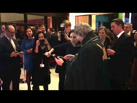 Sabrage at French Embassy Nuit de Champagne, Dec. 14, 2017