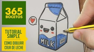 COMO DIBUJAR UNA CAJA DE LECHE KAWAII PASO A PASO - Dibujos kawaii faciles - draw a bottle of milk